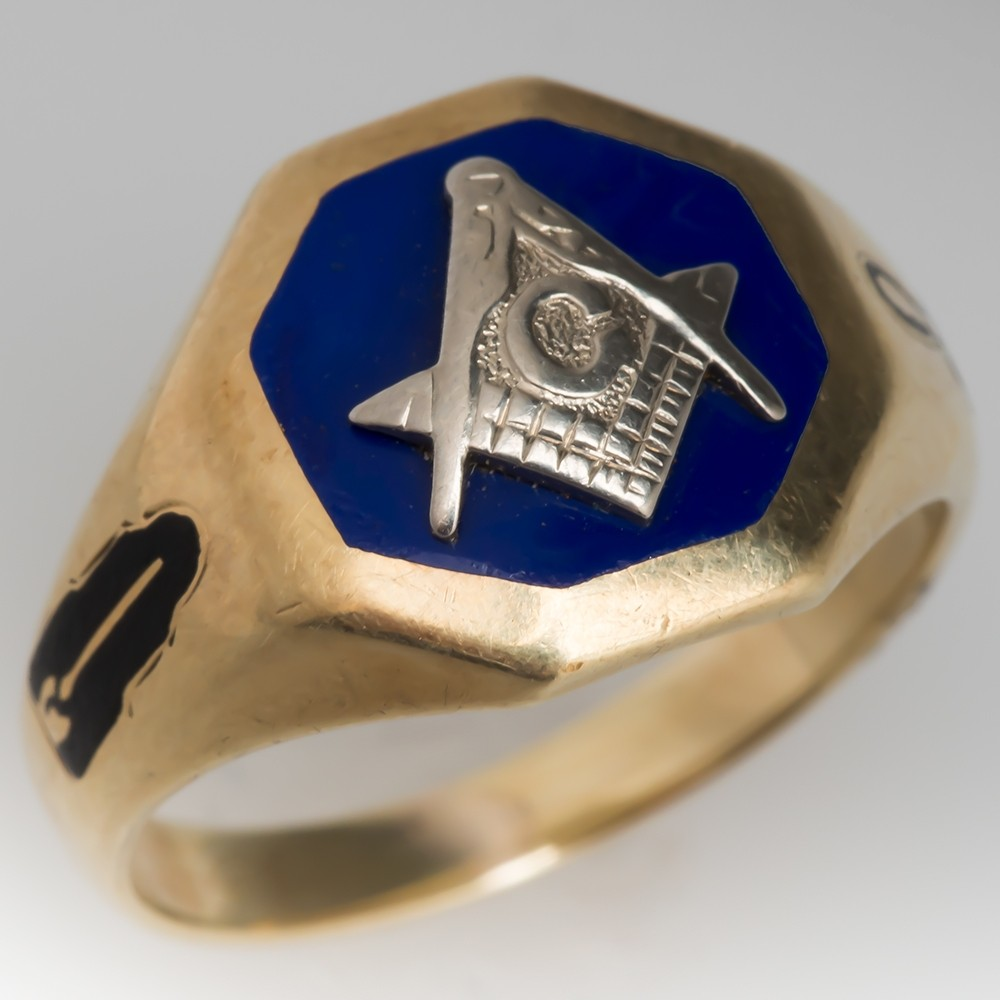 Vintage Mens Masonic Ring Enamel Details 14K Gold