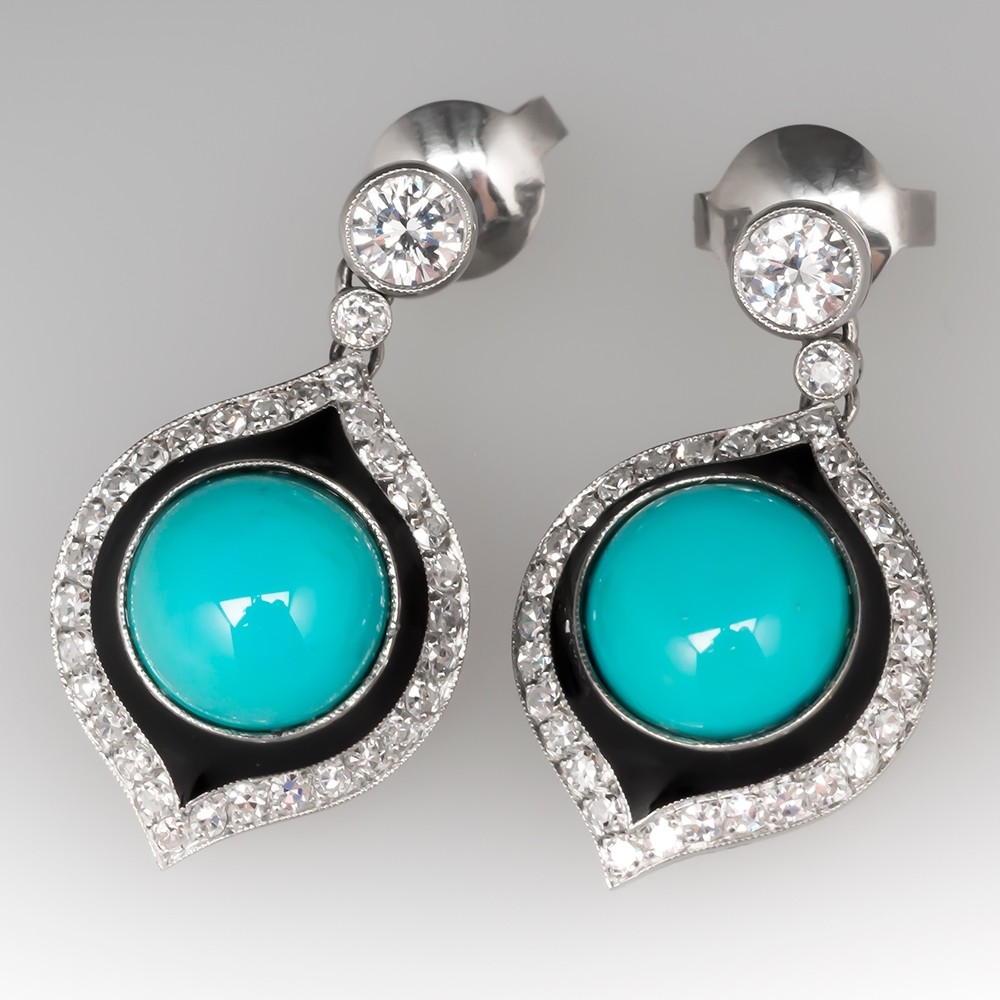 Stunning Turquoise & Diamond Drop Earrings in Platinum