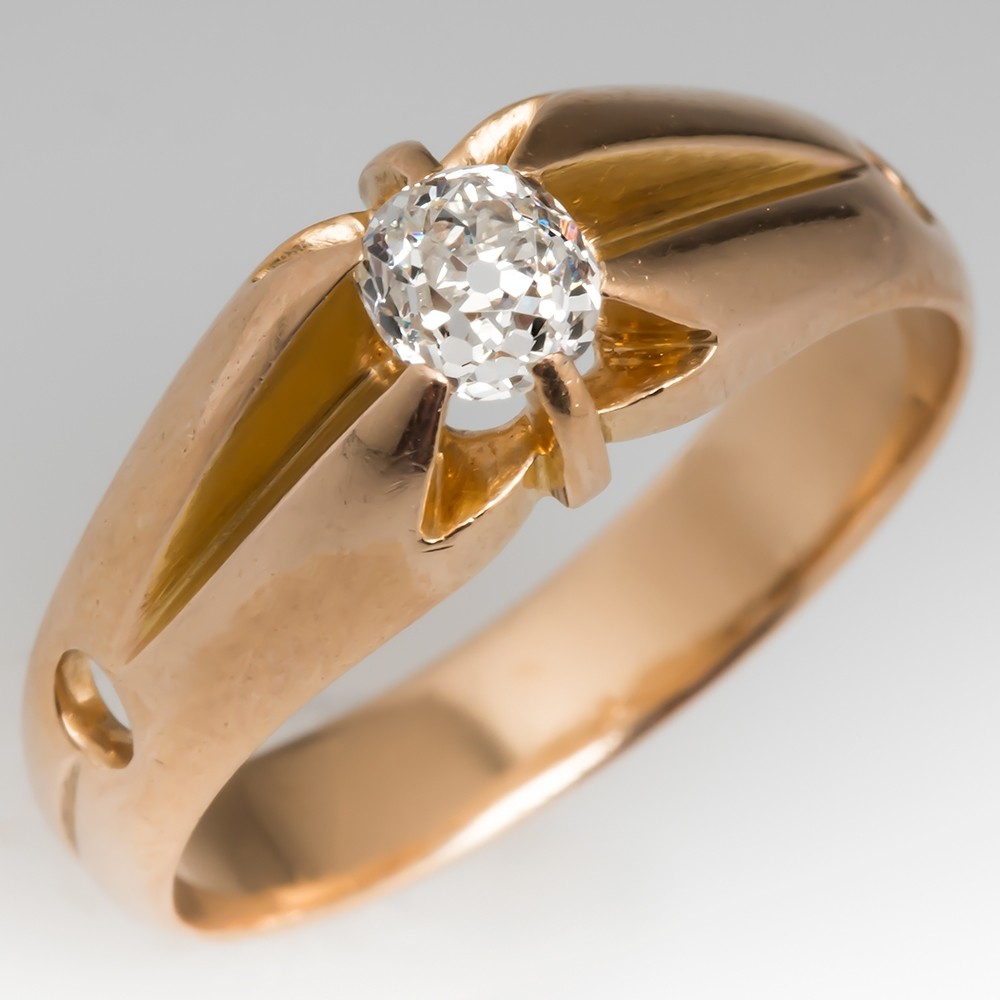 Victorian Old Mine Cut Diamond Claw Ring 14K
