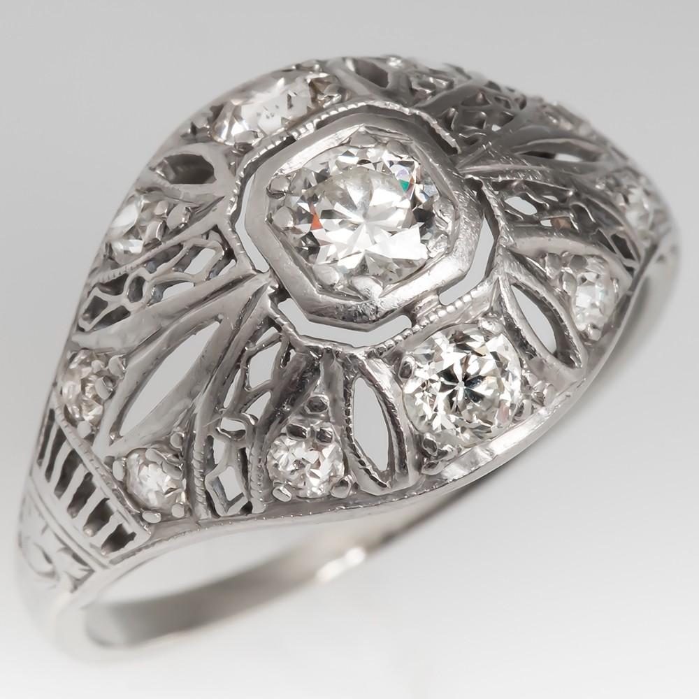 Art Deco Filigree Transitional Cut Diamond Engagement Ring Platinum
