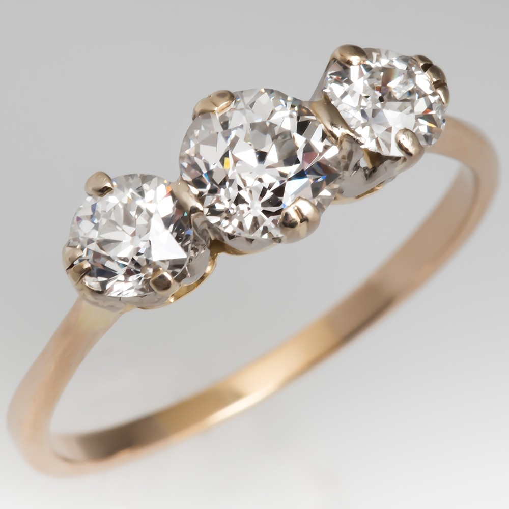 Victorian Three Stone Diamond Engagement Ring 14K