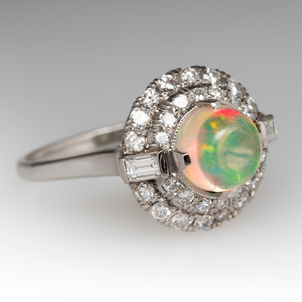 Vintage Crystal Opal & Diamond Ring Highly Detailed Platinum