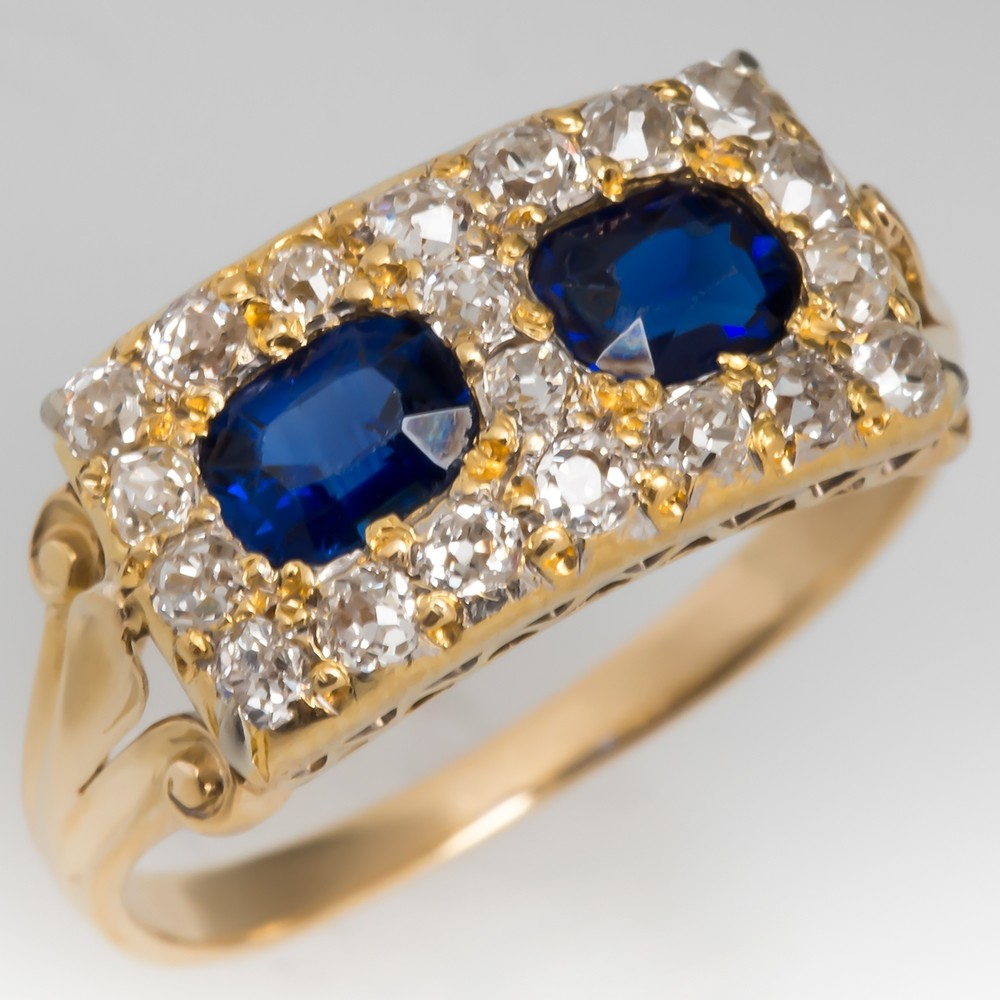 Late Victorian Era Antique Twin Sapphire & Diamond Ring 18K Gold
