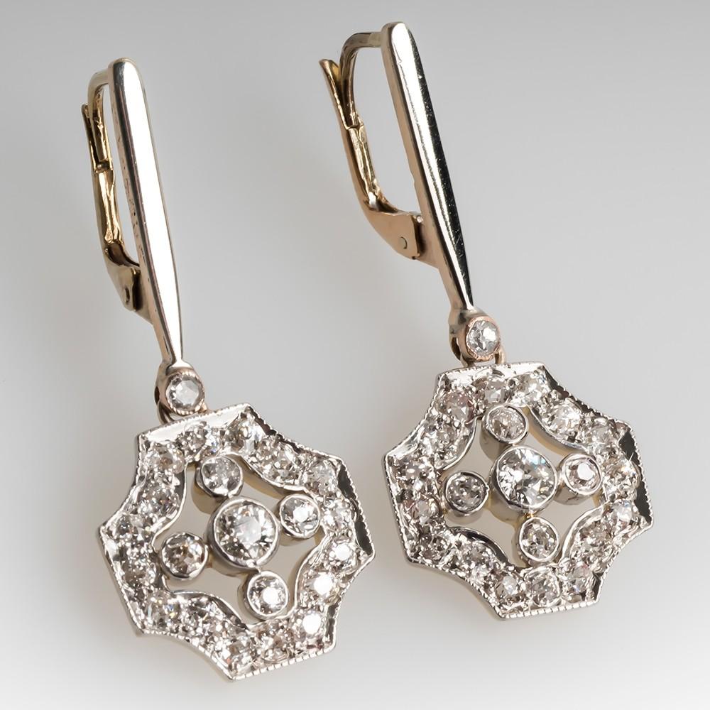 1920's Art Deco Diamond Dangle Earrings 18K & Platinum