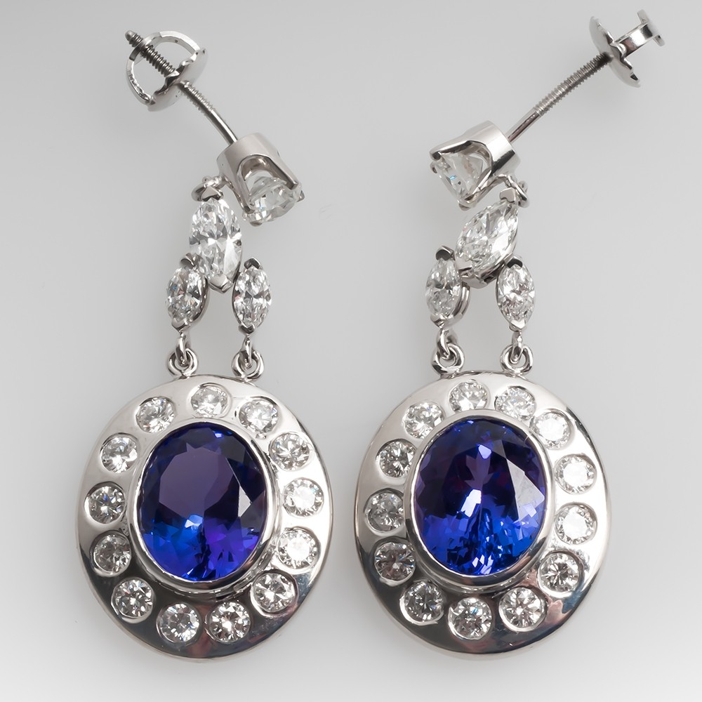 Vibrant Tanzanite & Diamond Dangle Earrings 14K White Gold