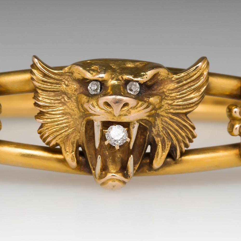 Victorian Era Antique Bangle Bracelet w/Tiger Cat & Diamonds 14K Gold