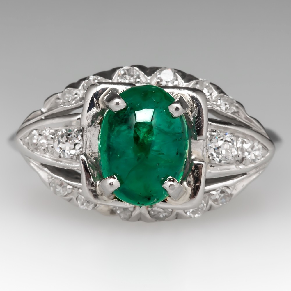 Vintage Emerald & Diamond Engagement Ring in Platinum