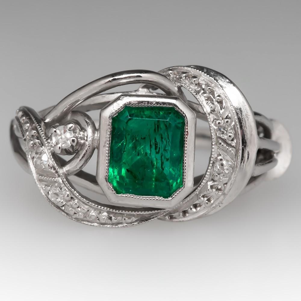Vintage Emerald & Diamond Ring 18K White Gold