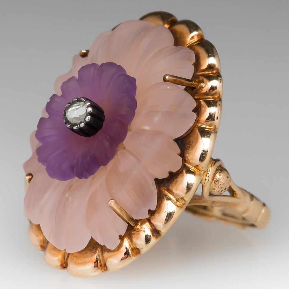 Antique Carved Rose Quartz Amethyst & Diamond Floral Cocktail Ring 14K