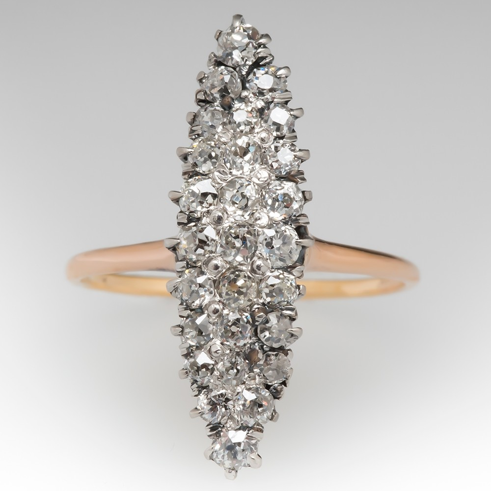 Victorian Navette Diamond Ring 18K & Platinum
