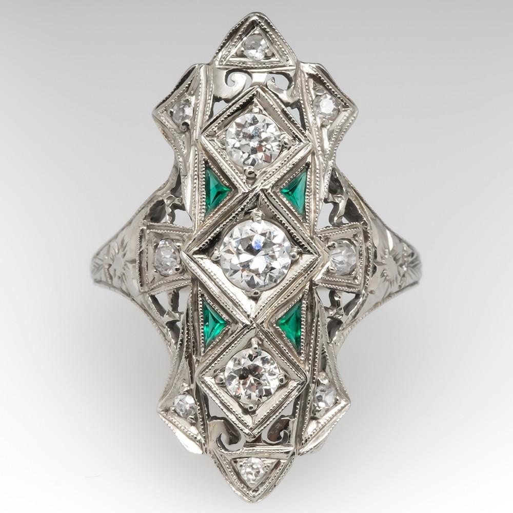 1930's Art Deco Old Euro Diamond Dinner Ring 14K