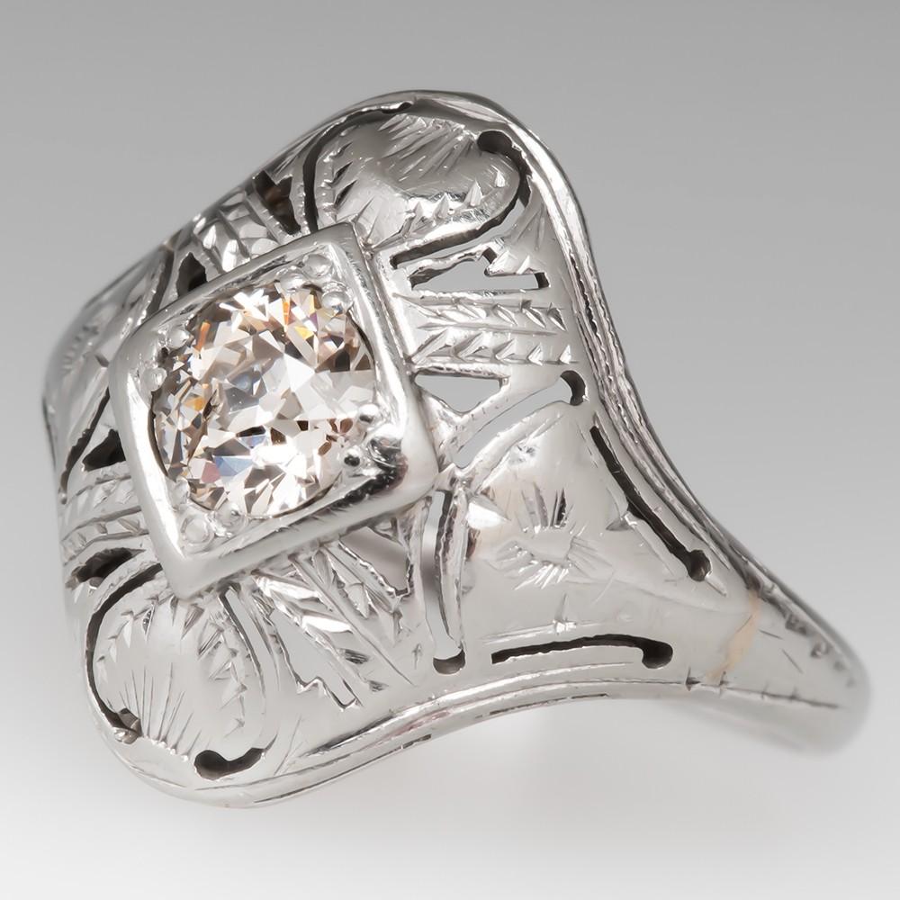 Old European Cut Diamond Deco Ring Filigree Openwork 18K
