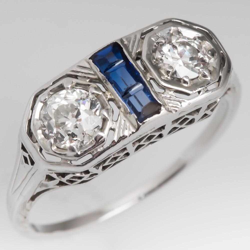 Art Deco Twin Old Euro Diamond Ring 18K White Gold