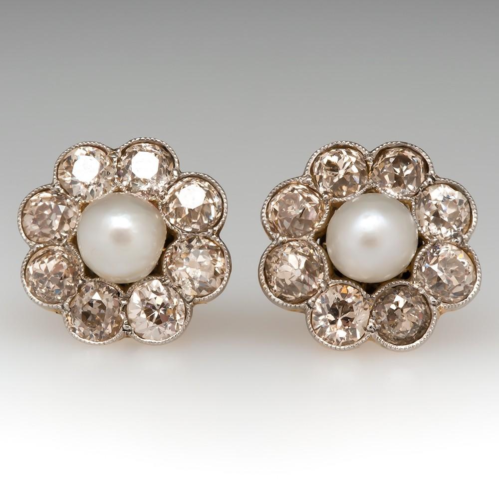 Victorian Pearl & Old Euro Diamond Stud Earrings