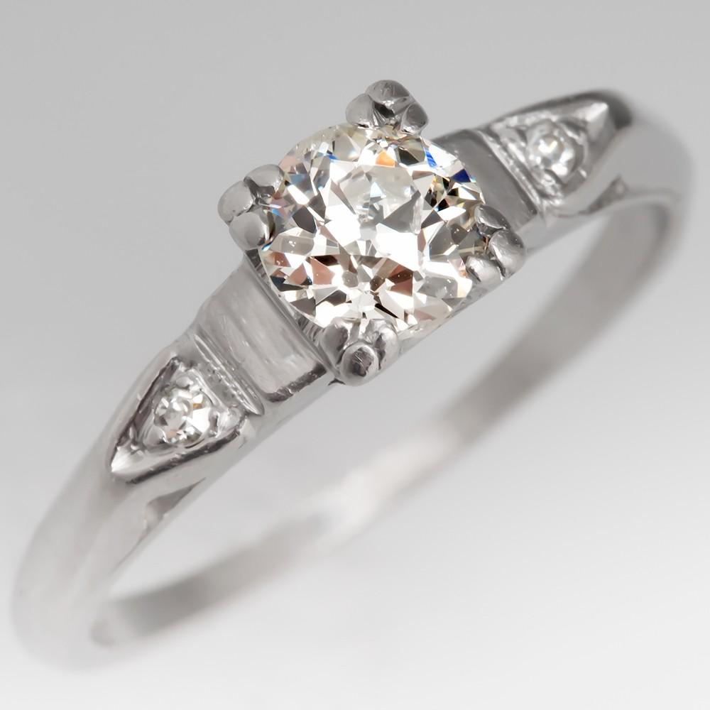 1920's Engagement Ring 1/2 CT Old European Cut Diamond Platinum