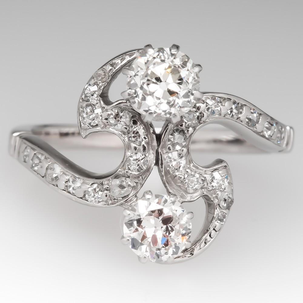 1920's Art Deco Toi Et Moi Diamond Ring 18K White Gold