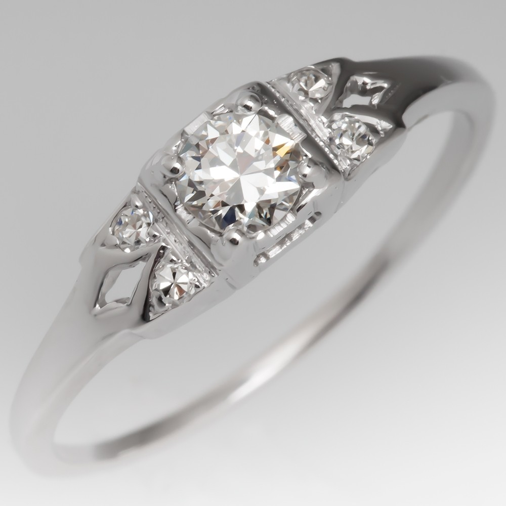 Low Profile 1940's Transitional Cut Diamond Engagement Ring 18K