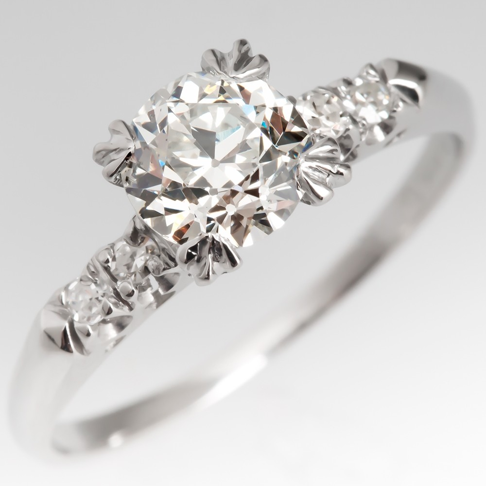 Timeless 1930's Engagement Ring Old Euro Diamond Platinum