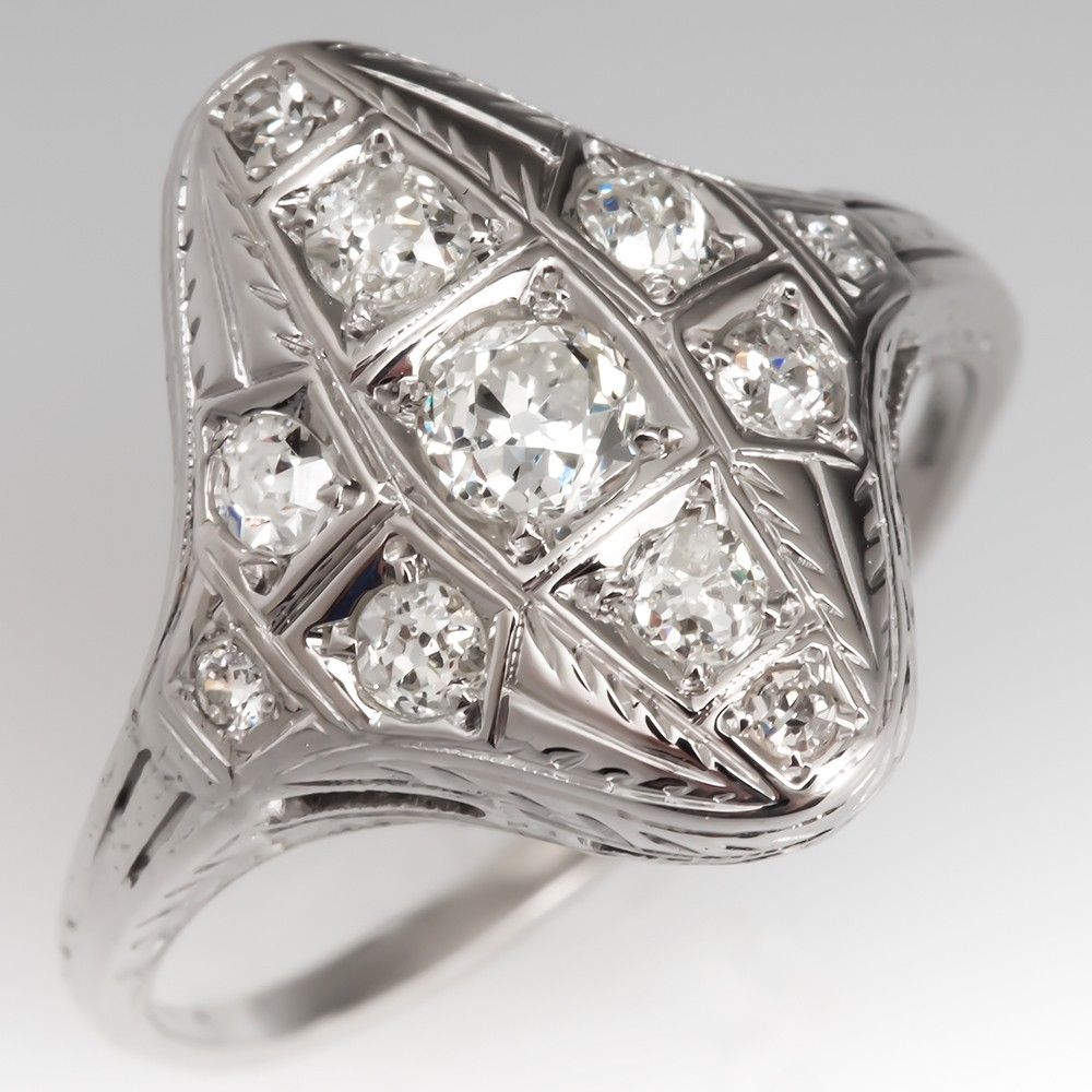 Art Deco Diamond Ring Intricate Details 18K White Gold