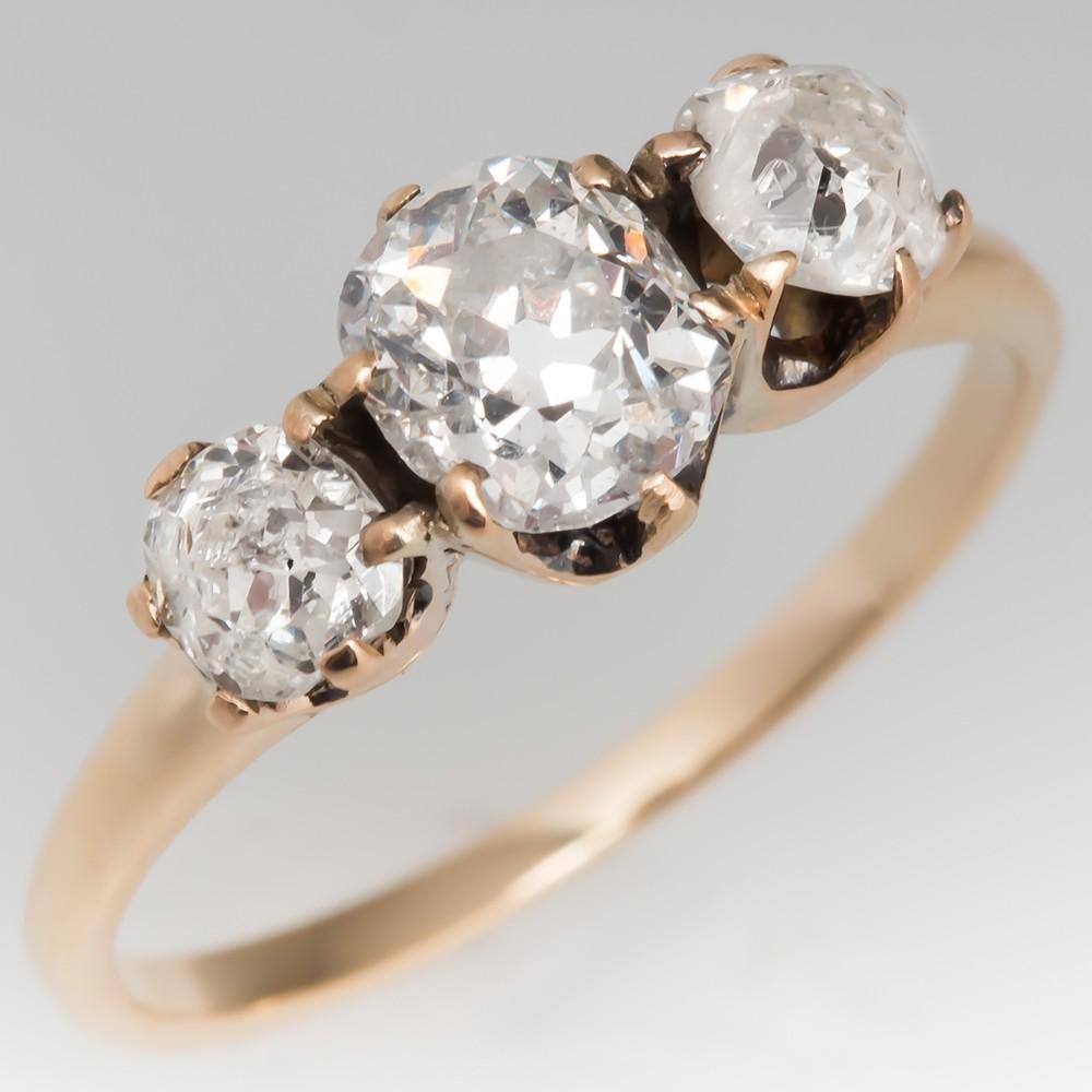 Victorian Three Stone Old Miner Diamond Ring 14K Gold