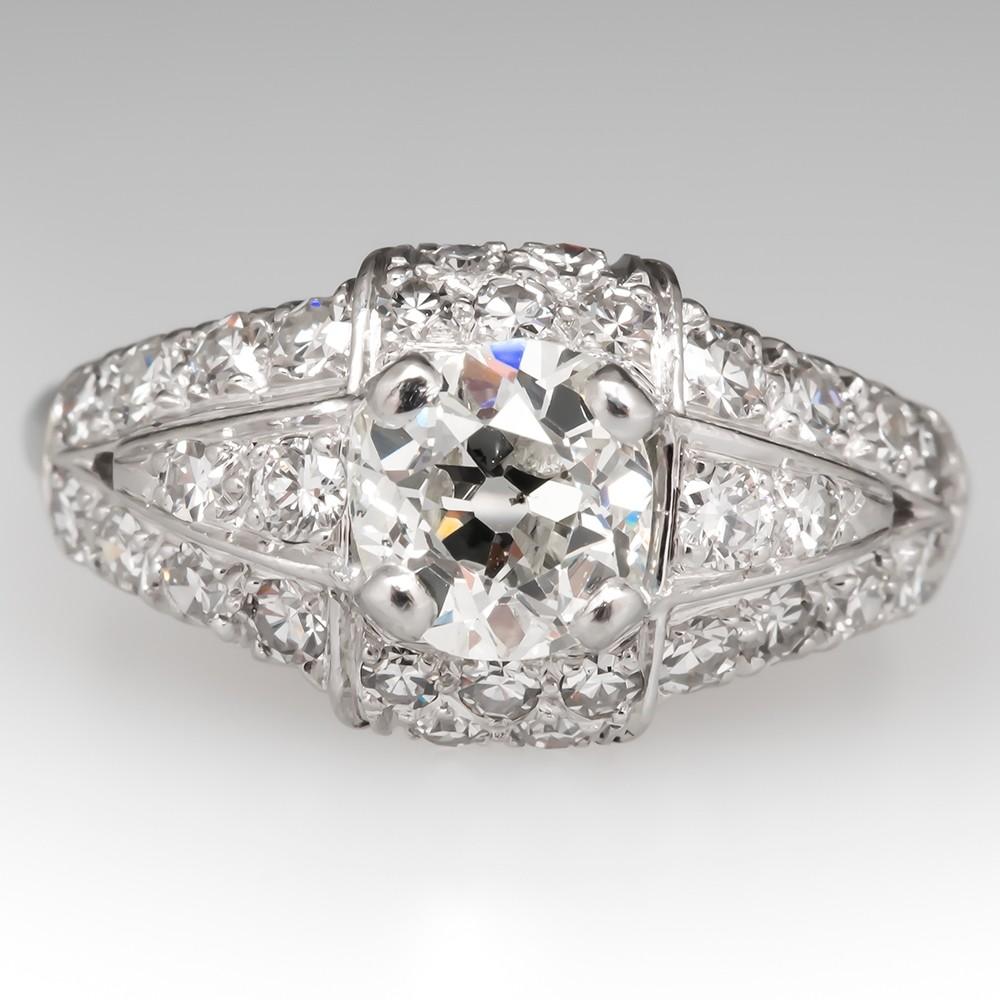 Art Deco Engagement Ring Old Mine Cut Diamond Platinum