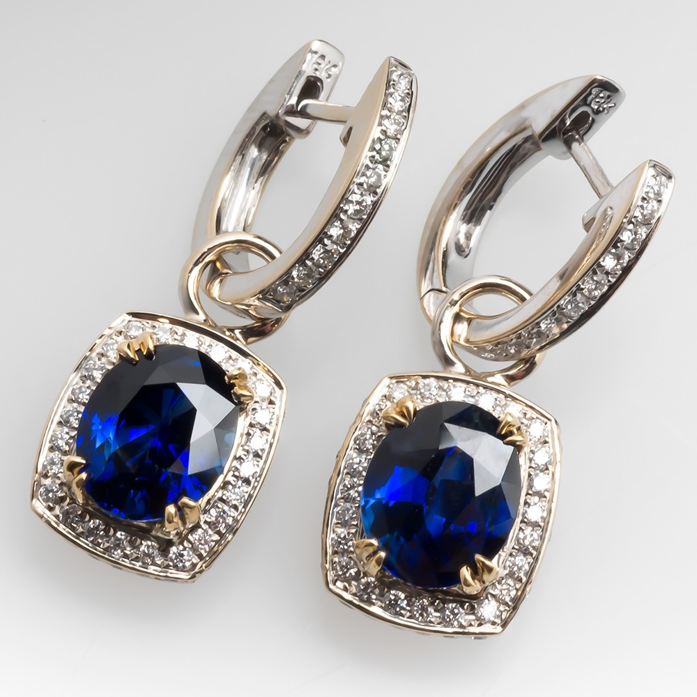 Blue Sapphire Dangle Earrings on Small Diamond Hoops 18K Gold