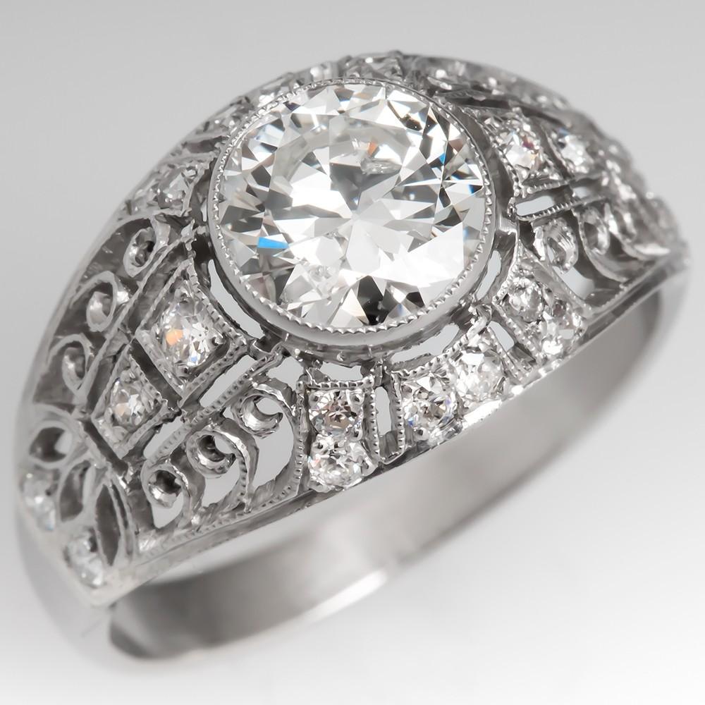 1 Carat Transitional Cut Diamond Openwork Engagement Ring