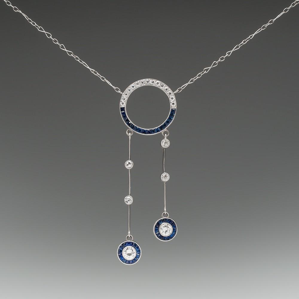 Vintage Sapphire & Diamond Negligee Drop Dangle Necklace Platinum