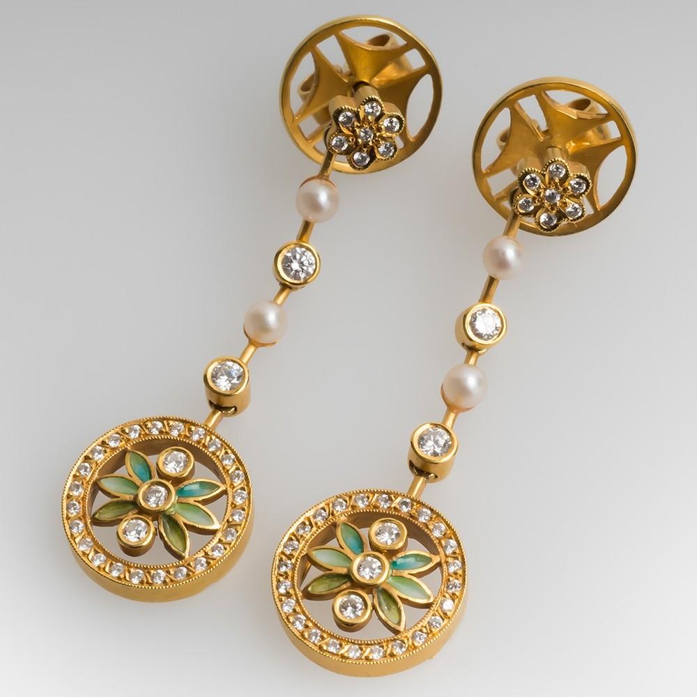 Masriera Dangle Earrings Pearls & Diamonds 18K Gold