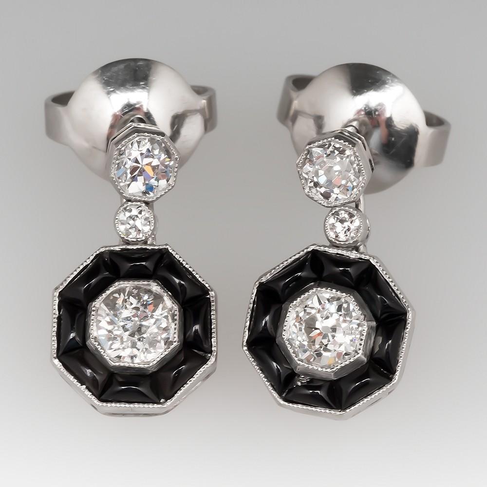 Platinum Old European Cut Diamond & Onyx Deco Earrings