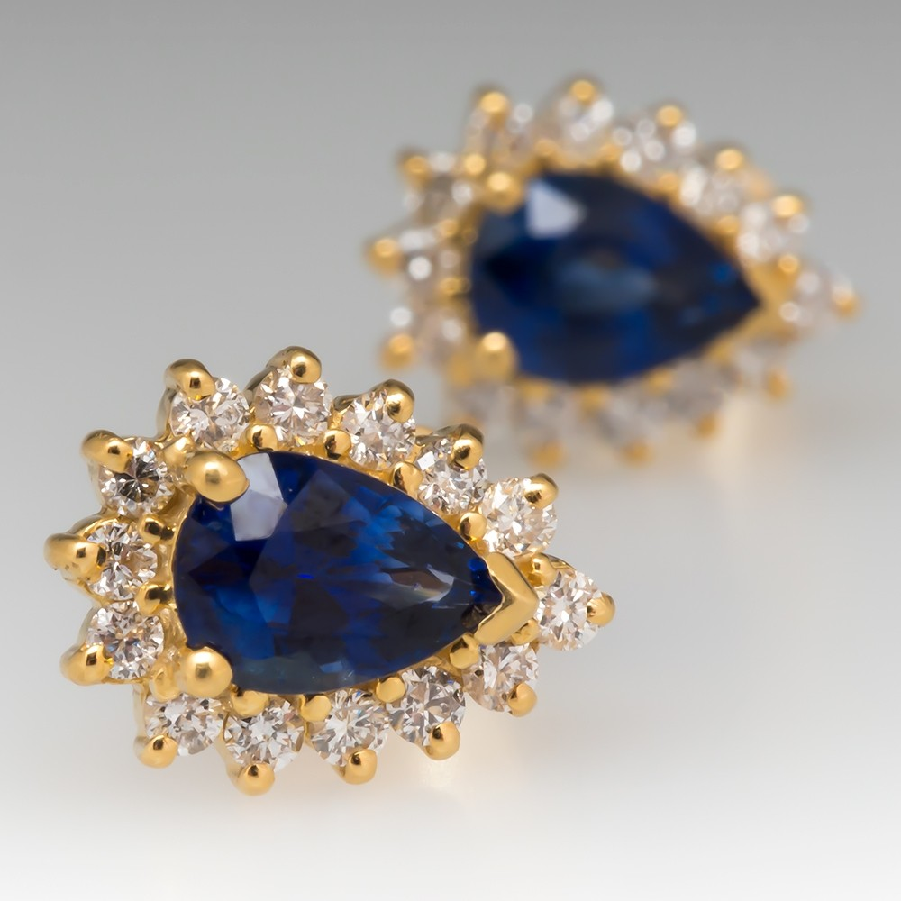 Pear Cut Blue Sapphire Stud Earrings with Diamond Halo 18K Yellow Gold
