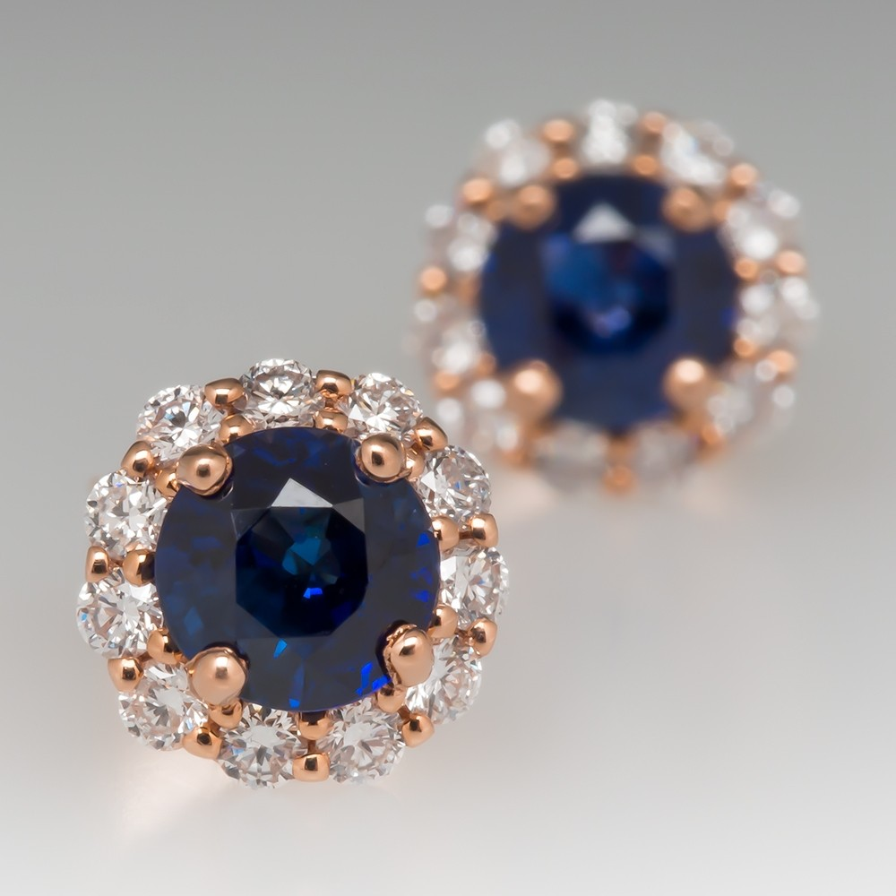 Blue Sapphire Stud Earrings with Diamond Halo 14K Rose Gold