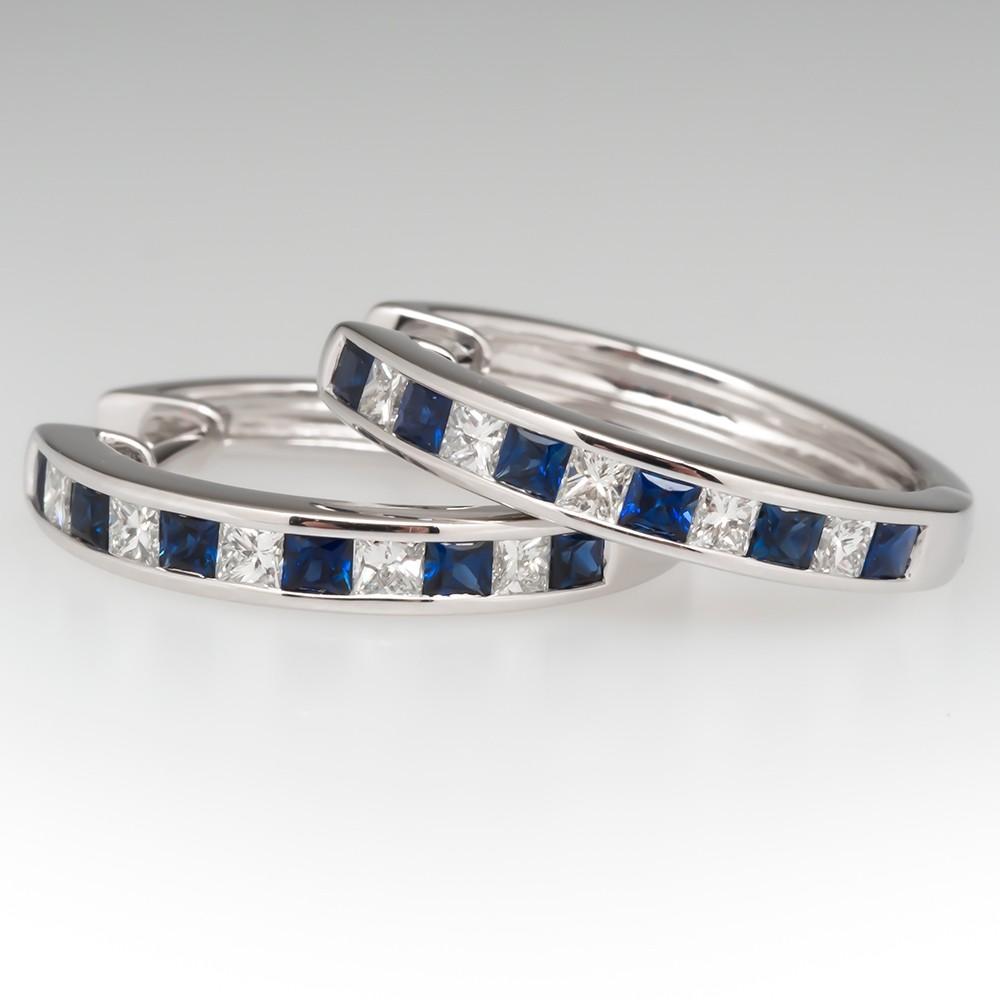 Blue Sapphire & Diamond Hoop Earrings 20mm 14k White Gold