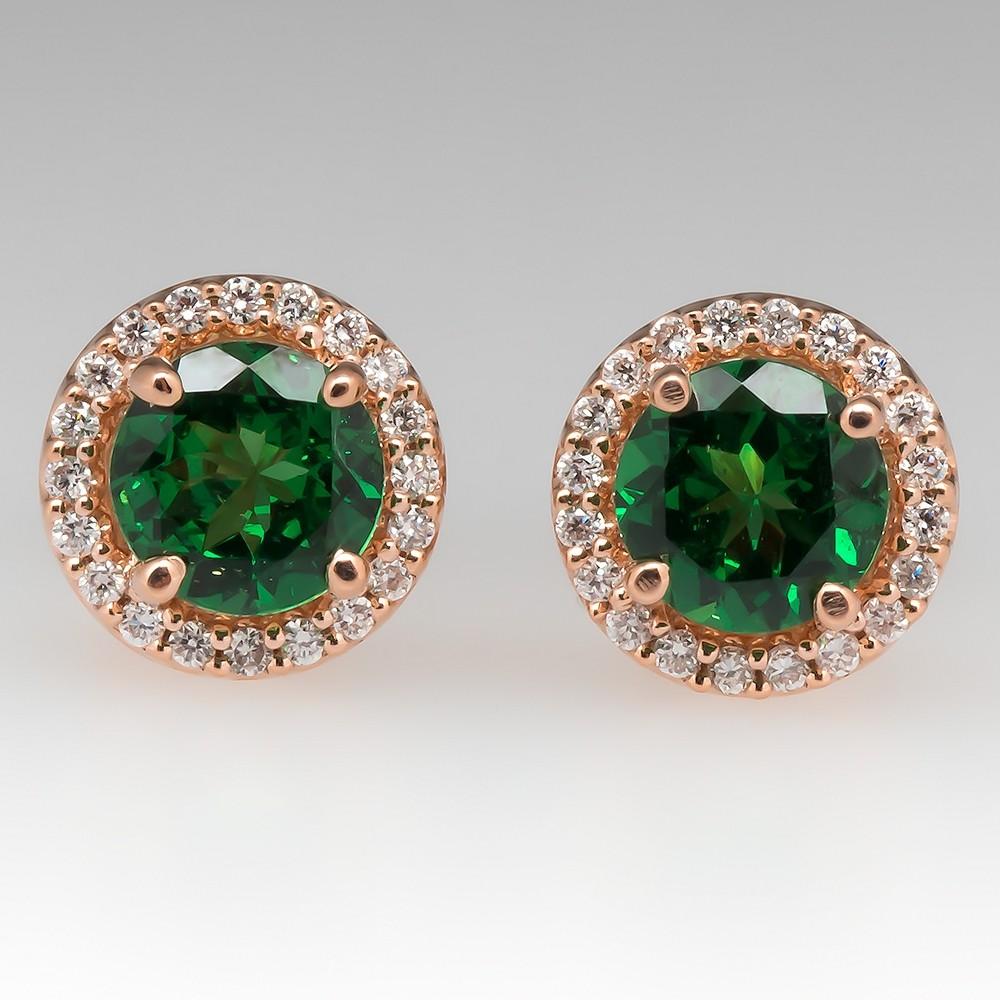 Tsavorite Garnet & Diamond Stud Earrings 14K Rose Gold