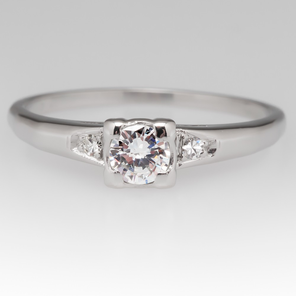 Platinum .22 Carat Round Brilliant Diamond 1940's Ring
