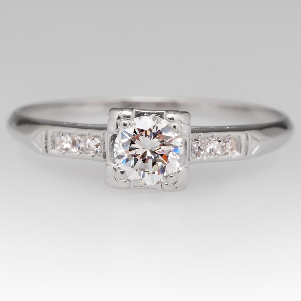 Vintage 1/3 Carat Diamond Engagement Ring Platinum
