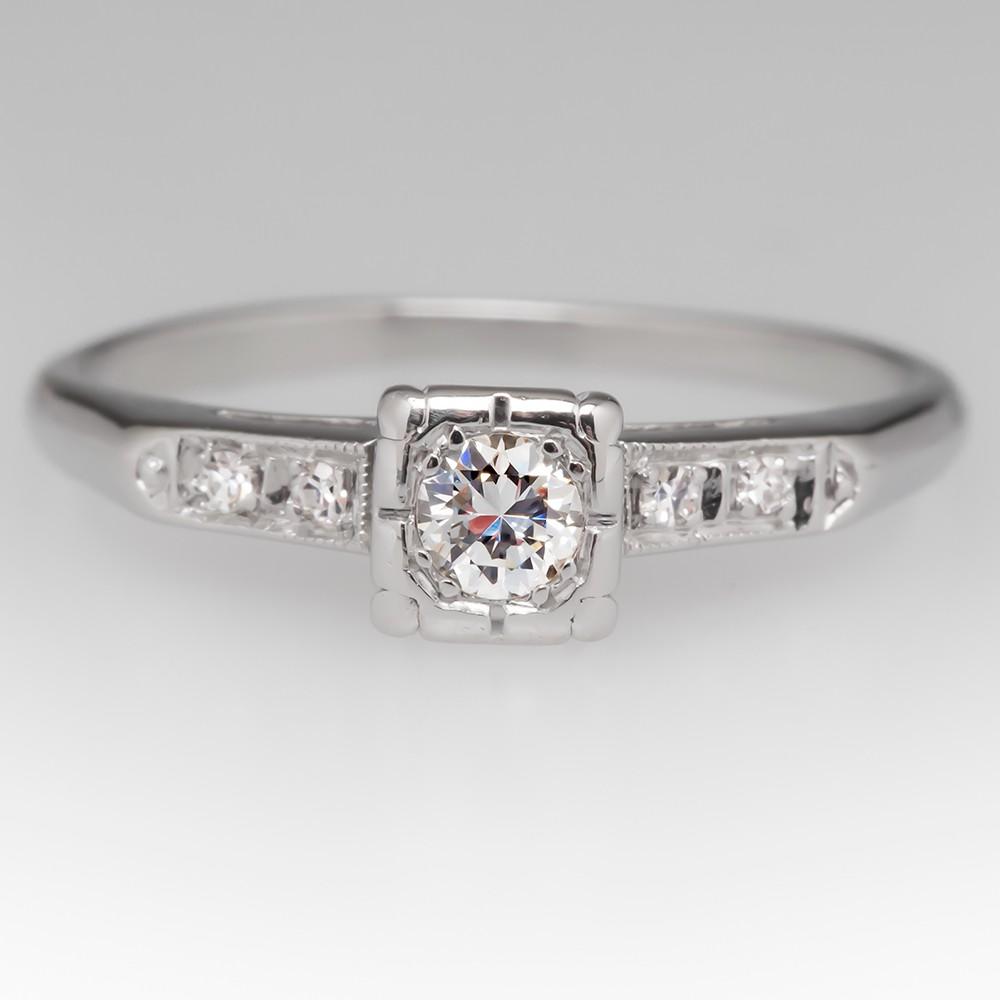 Petite Vintage Platinum Diamond Engagement Ring