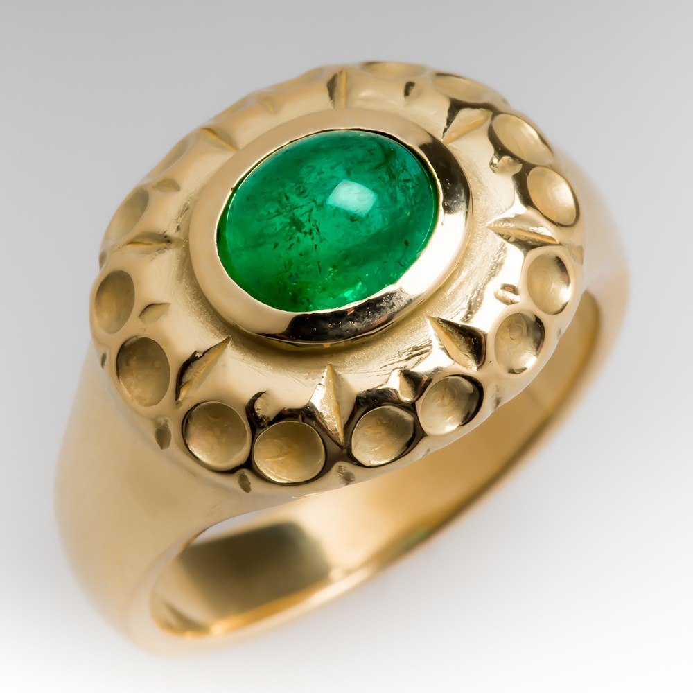 Custom 1.2 Carat Emerald Cabochon Ring 18K