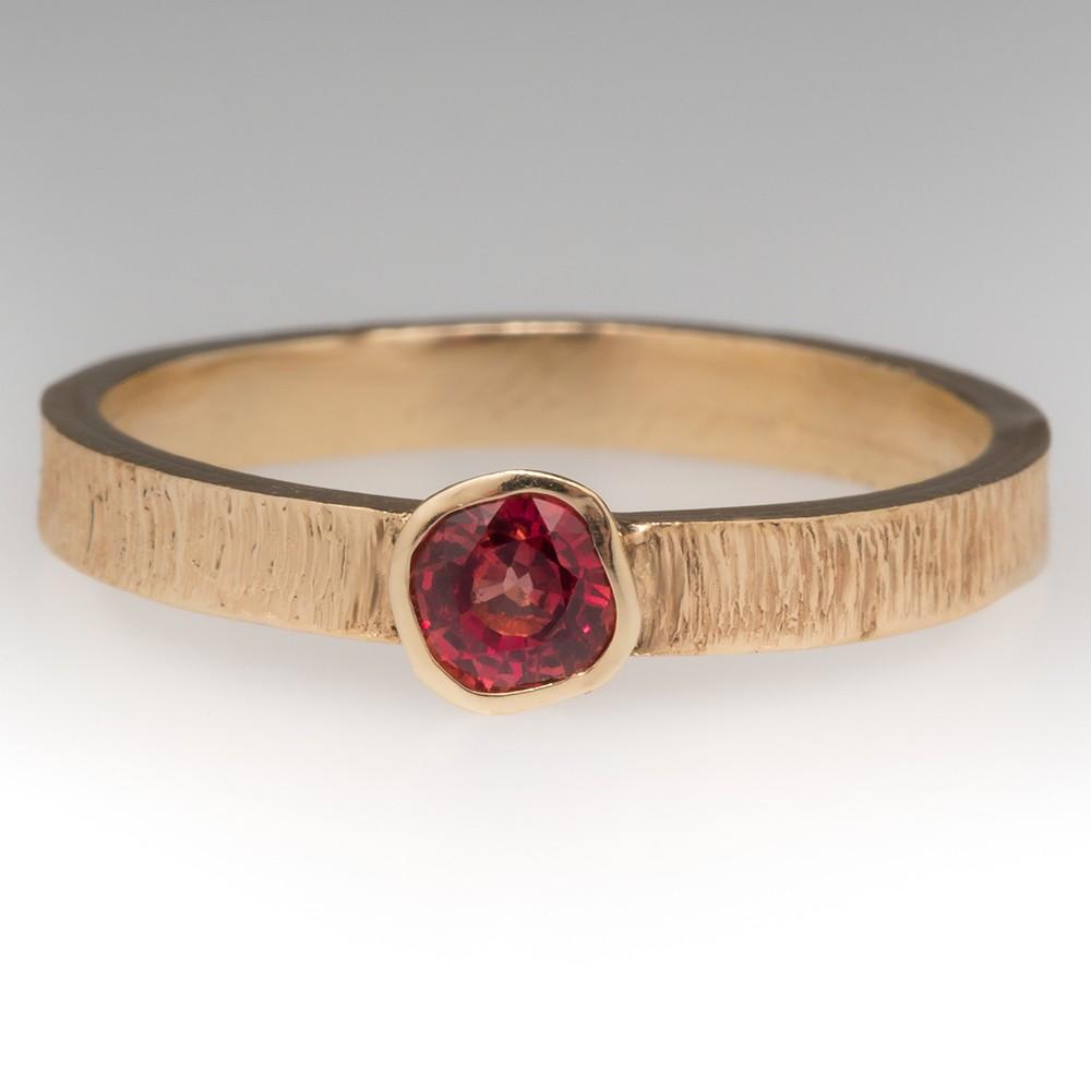 Padparadscha Sapphire Custom Handmade Band Ring 14K