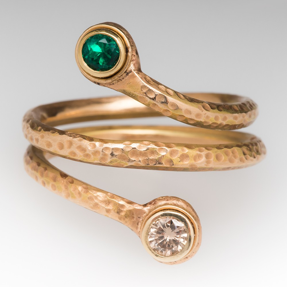 Handmade Emerald Diamond Snake Coil Ring 14K