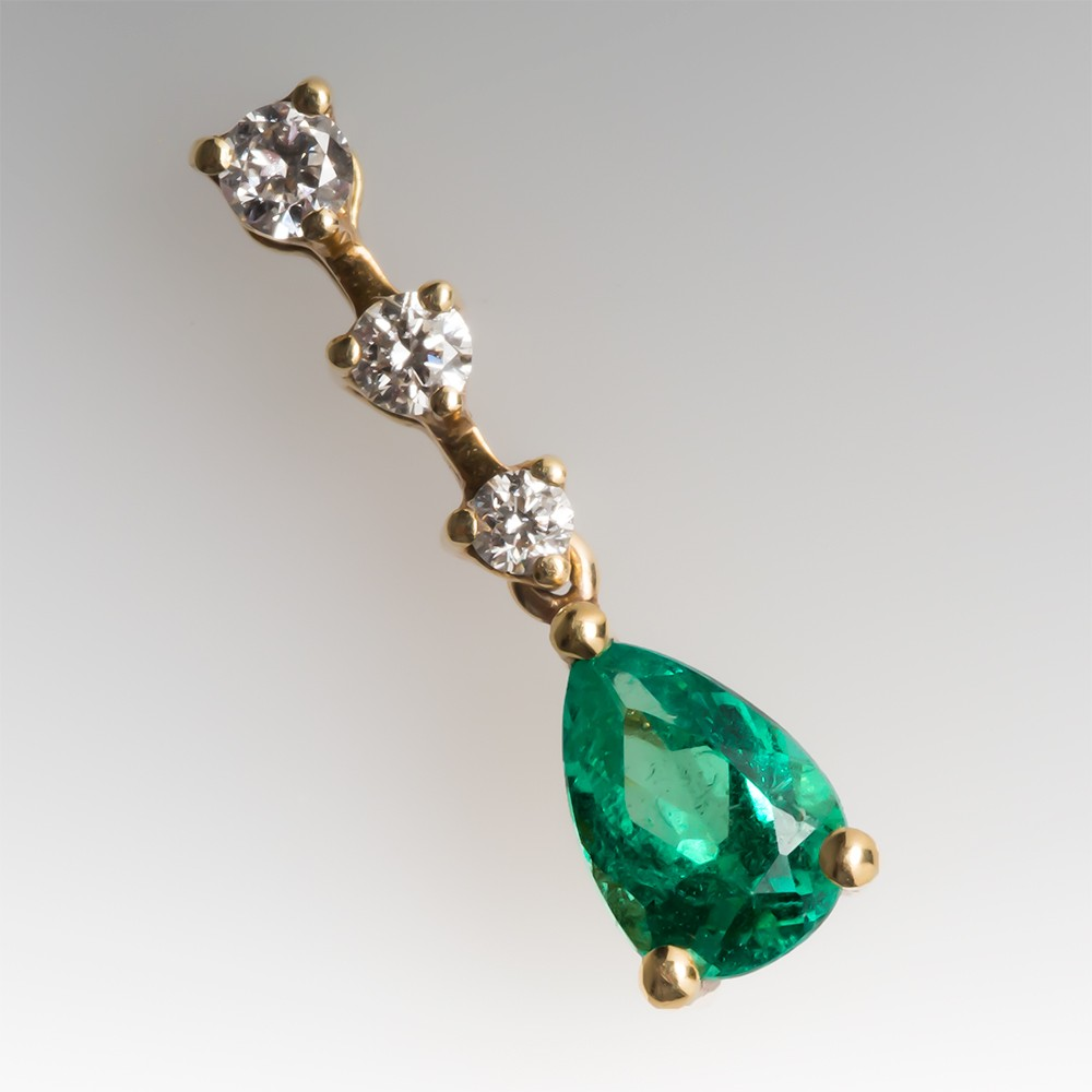 Pear Emerald & Diamond Drop Pendant 18K
