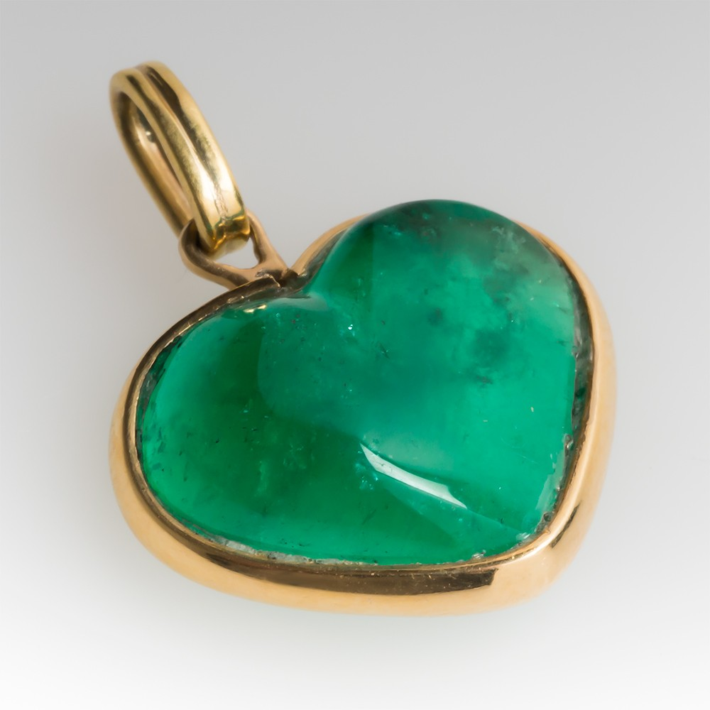 Large 12.5 Carat Emerald Freeform Heart Pendant