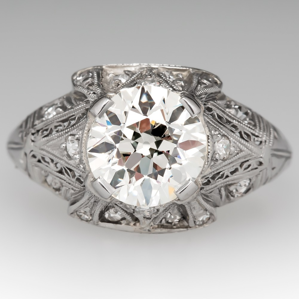 Circa 1920's Old European Cut Diamond Engagement Ring
