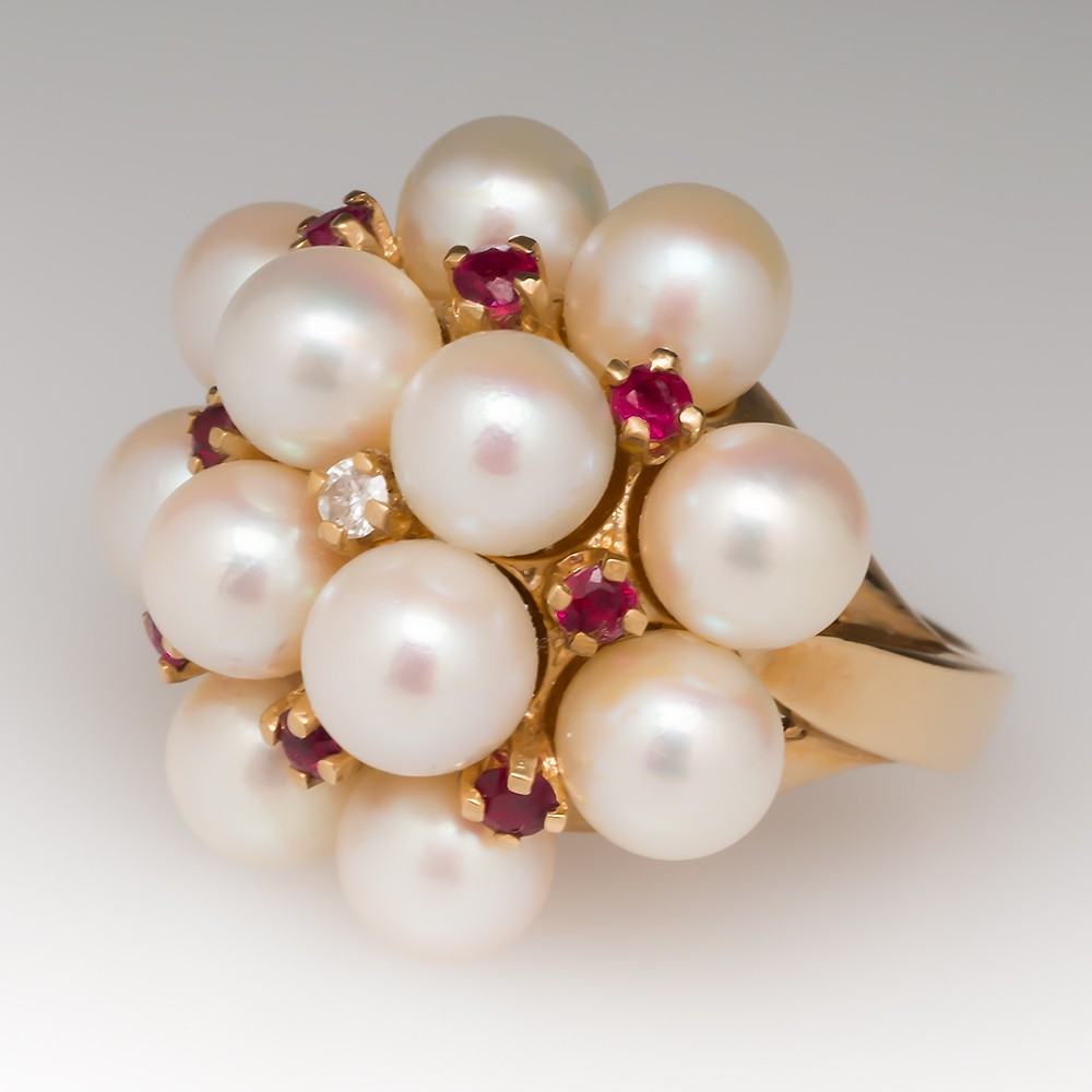1960's Vintage Pearl Ruby Diamond Cluster Cocktail Ring 14K