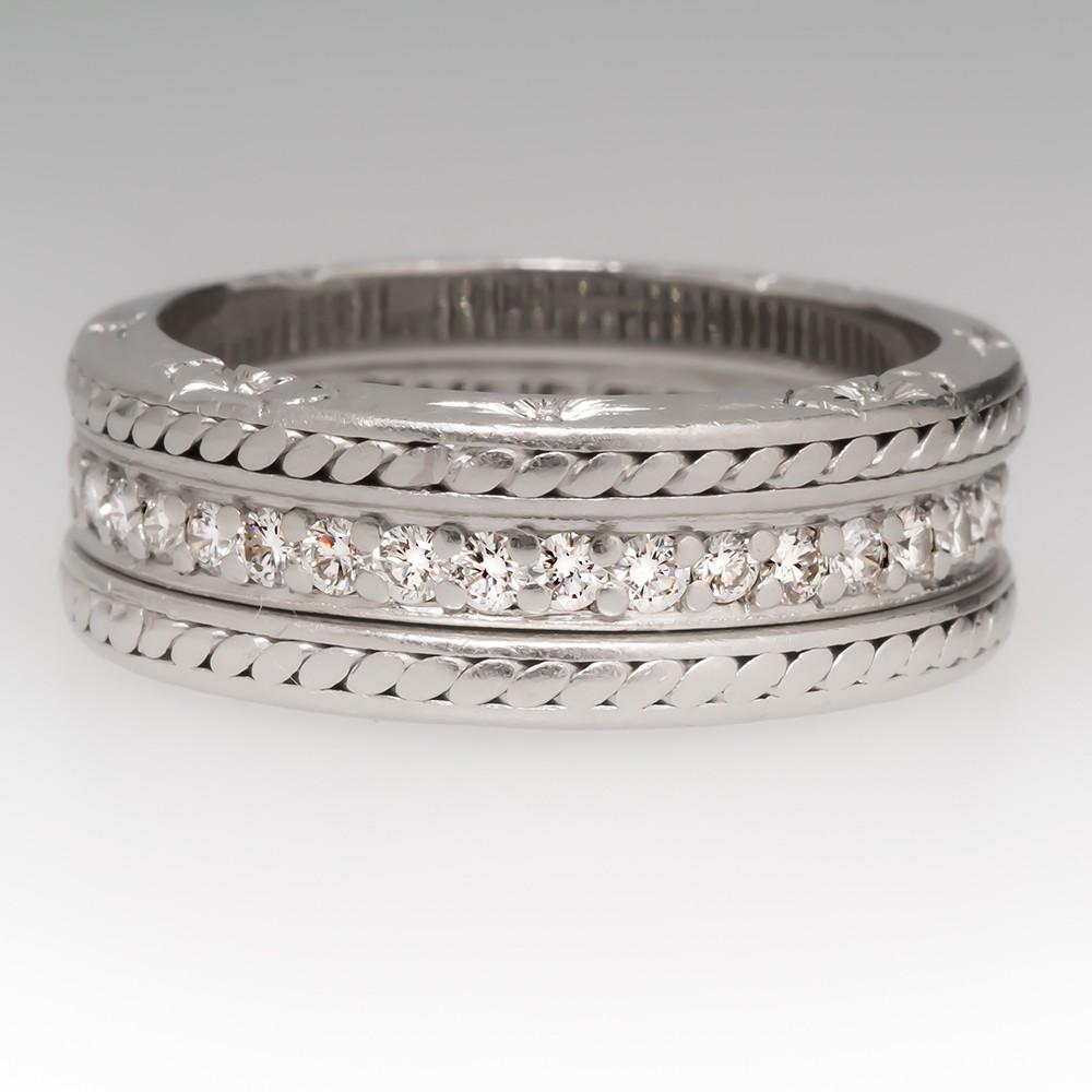 Jack Kelege Platinum Three Band Ring Set