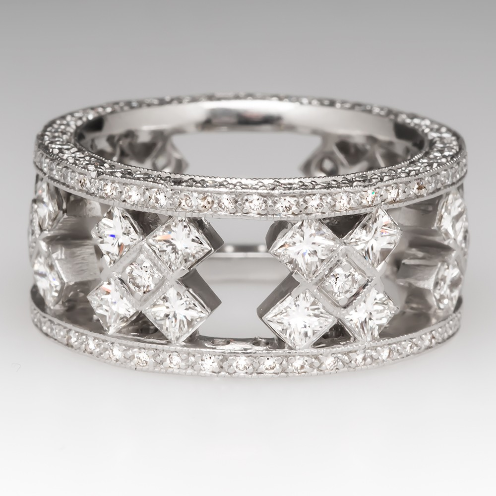 Substantial Platinum Wide Band Diamond Cocktail Ring