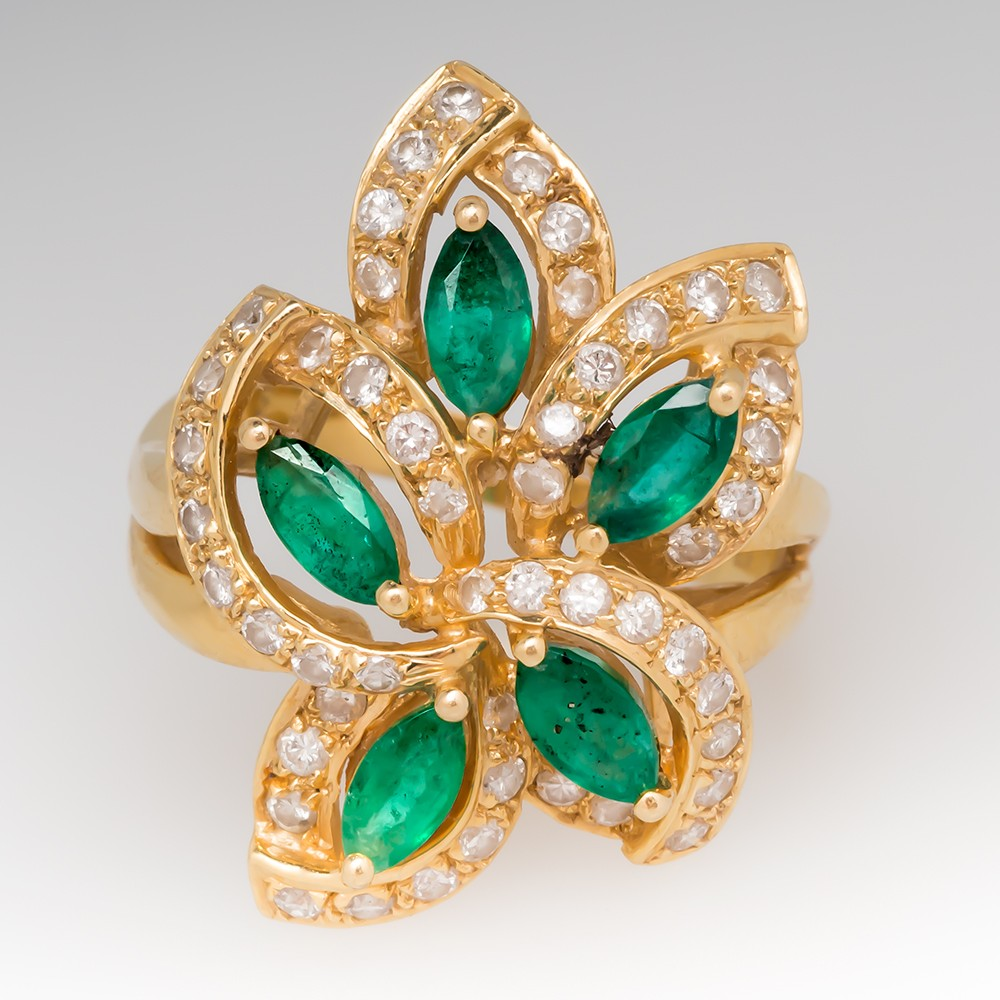 Marquise Emerald & Round Diamond Floral Cocktail Ring 18K