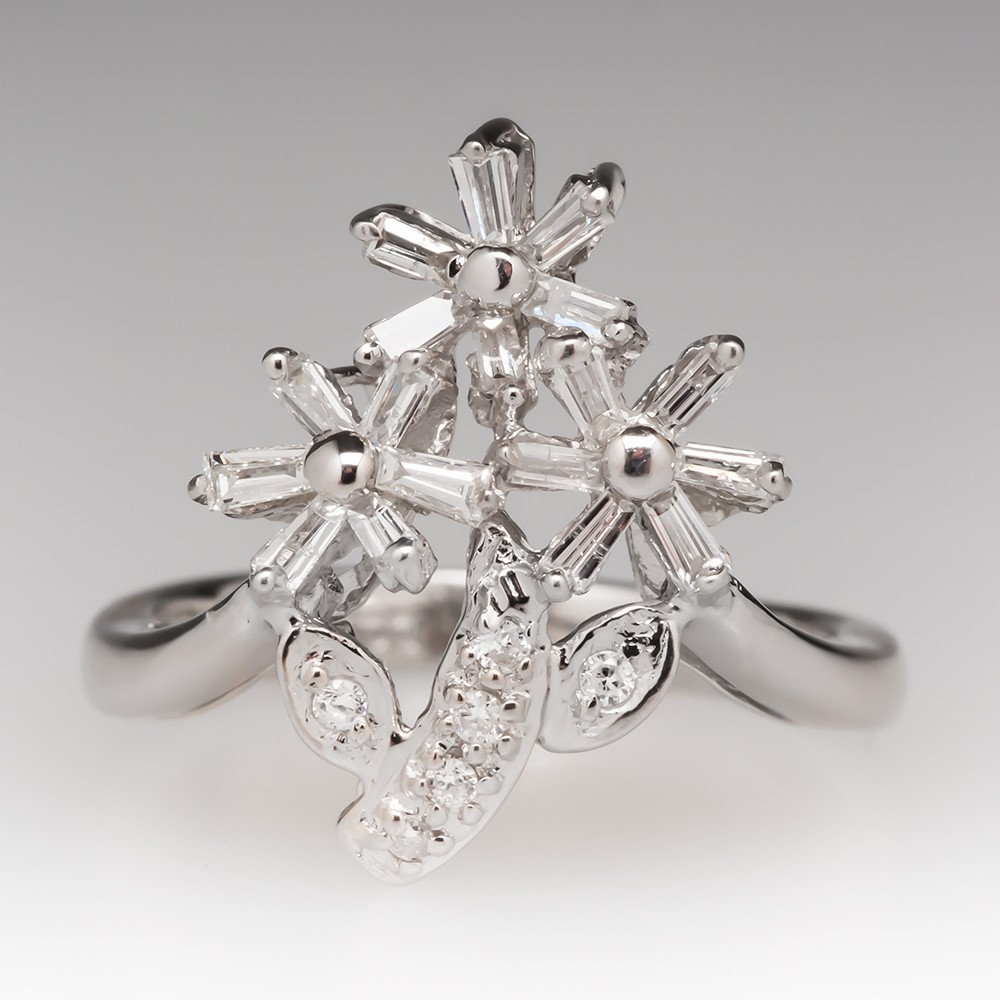 18K White Gold Diamond Flower Bouquet Right Hand Ring