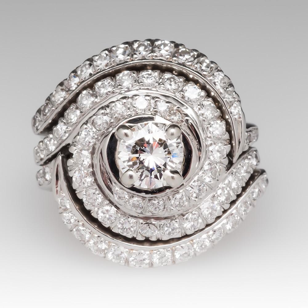 Vintage Swirl Design Diamond Wedding Set 18K White Gold
