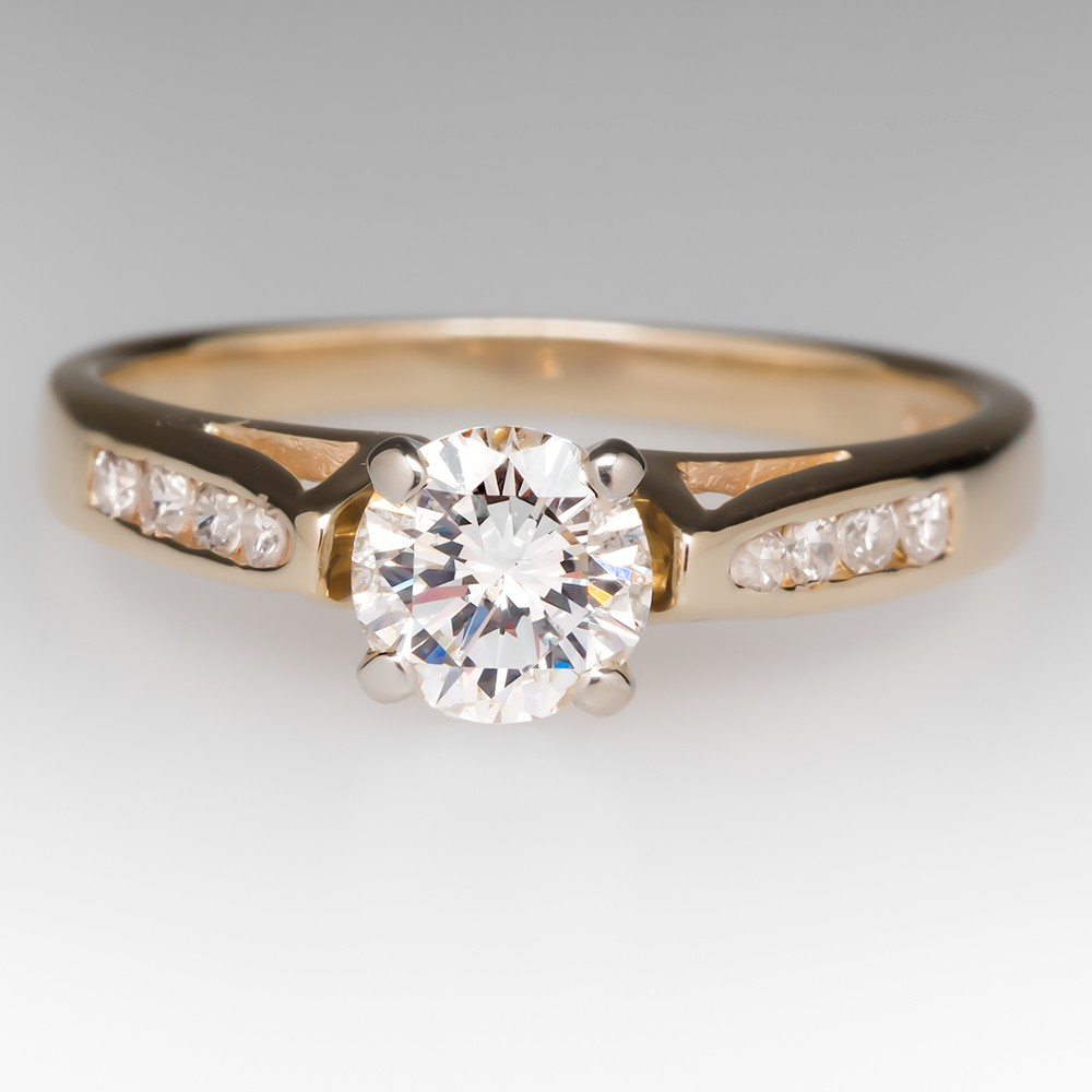 1/2 Carat Diamond Engagement Ring 14K Yellow Gold